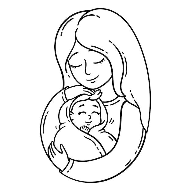 Mère tenant un bébé. Vecteur Premium