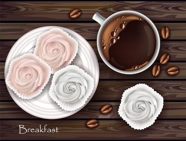 Meringues Sucrées Et Petit-déjeuner Au Café Vecteur Premium