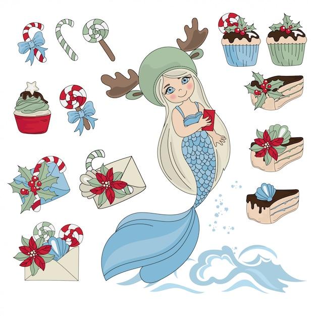 Mermaid sweet set illustration en couleurs du nouvel an pour les anniversaires et les fêtes Vecteur Premium