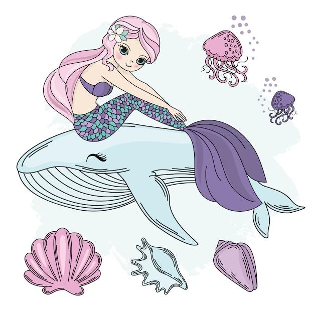 Mermaid walk princesse mer vecteur sous-marin Vecteur Premium
