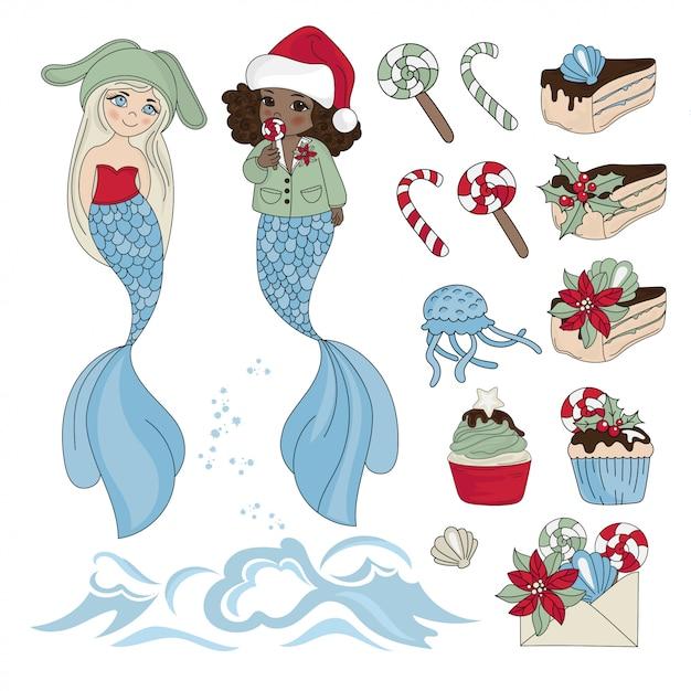 Mermaid yummy nouvel an couleur Vecteur Premium