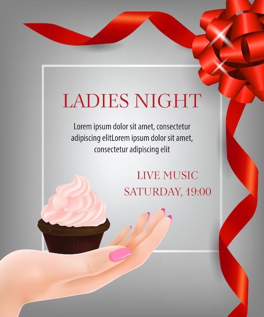 Mesdames Nuit Lettrage Avec Rubans Et Dessert Vecteur gratuit