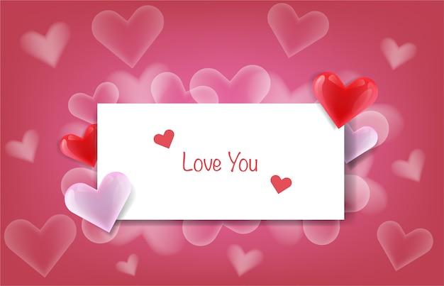 Message d'amour sur papier Vecteur Premium