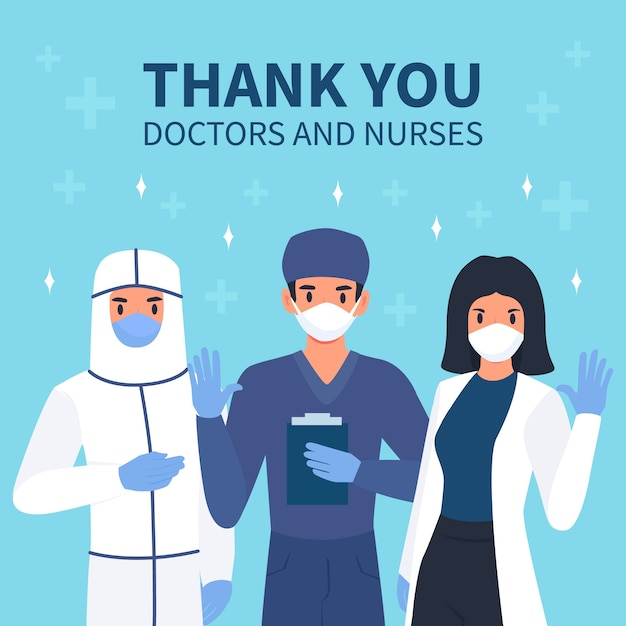 Message Reconnaissant Aux Médecins Et Infirmières Vecteur gratuit