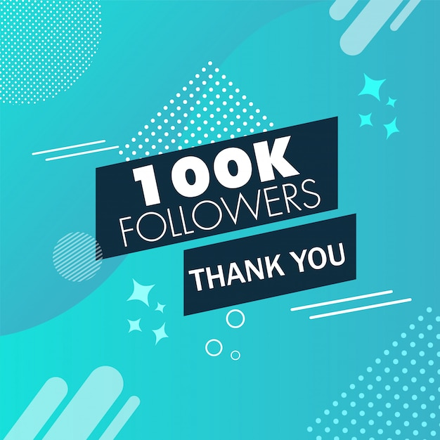 Message de remerciement pour les abonnés 100k sur le bleu Vecteur Premium
