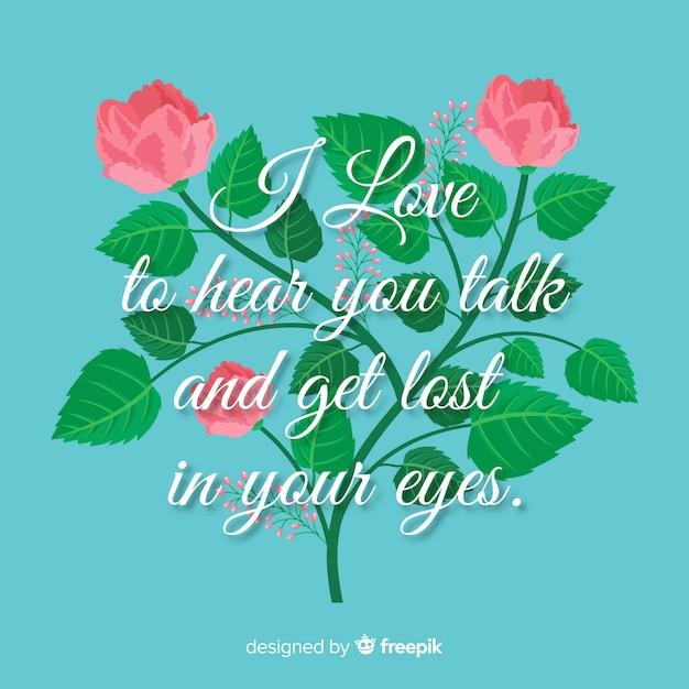 Message romantique avec des fleurs Vecteur gratuit
