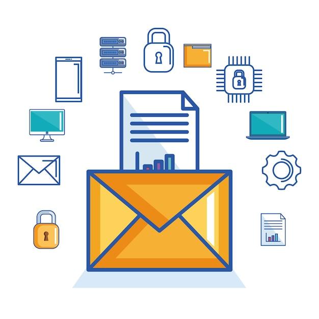 Messagerie électronique document security cyber digital Vecteur Premium