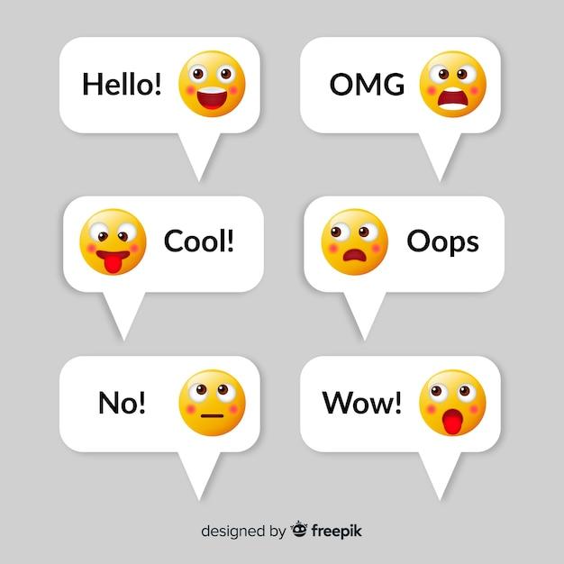 Messages avec la collection d'éléments emojis Vecteur gratuit