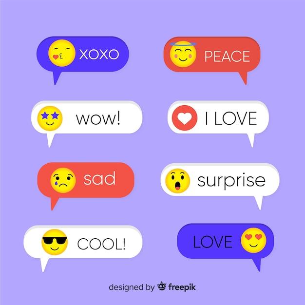 Messages de couleur différente avec emojis Vecteur gratuit