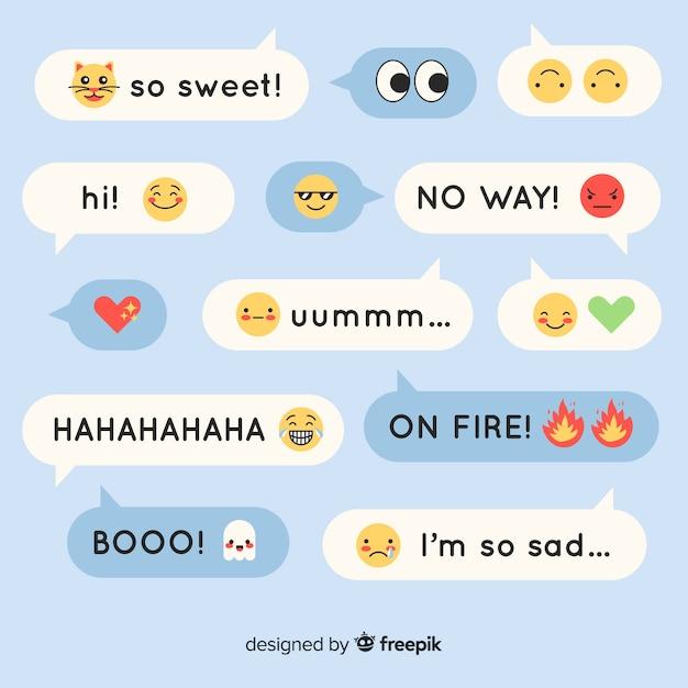 Messages de design plat colorés contenant des émojis Vecteur gratuit