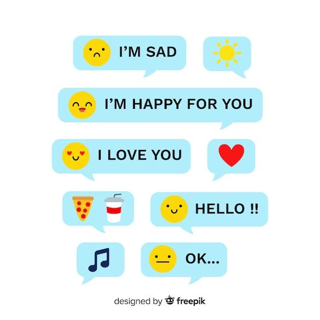 Messages avec des émoticônes Vecteur gratuit