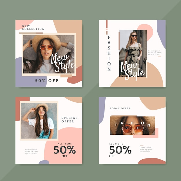 Messages Instagram De Vente De Mode Avec Photo Vecteur gratuit