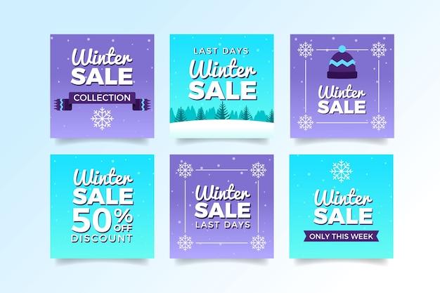 Messages sur les médias sociaux des soldes d'hiver violet et bleu Vecteur gratuit