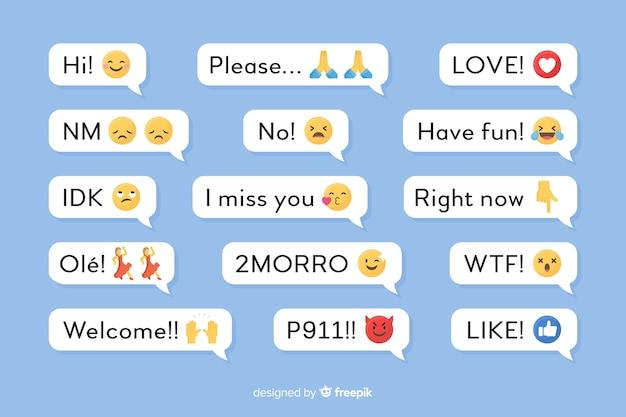 Messages mobiles avec des émoticônes Vecteur gratuit
