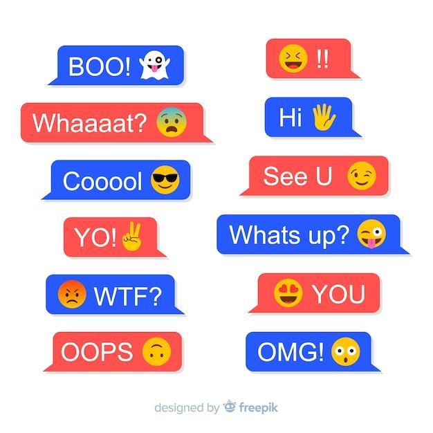Messages Avec Réactions Emojis Vecteur Premium