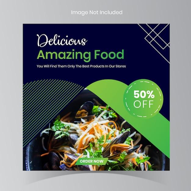 Messages de restaurants alimentaires instagram Vecteur Premium