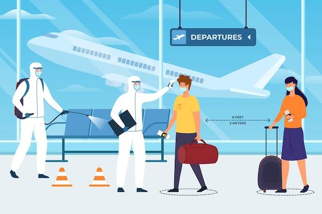 Mesures Préventives Aéroportuaires Vecteur Premium