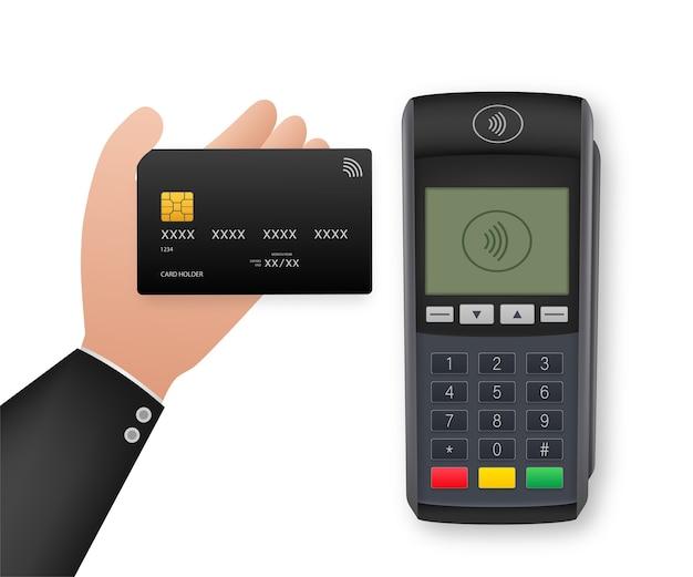 Méthodes De Paiement Sans Contact Téléphone Intelligent Mobile Et Style Réaliste De Terminal Pos Sans Fil Vecteur Premium