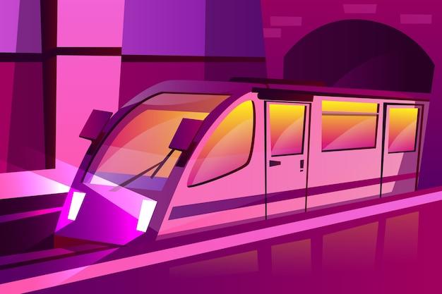 Métro moderne de dessin animé, train de vitesse souterrain dans un style de couleur pourpre futuriste Vecteur gratuit
