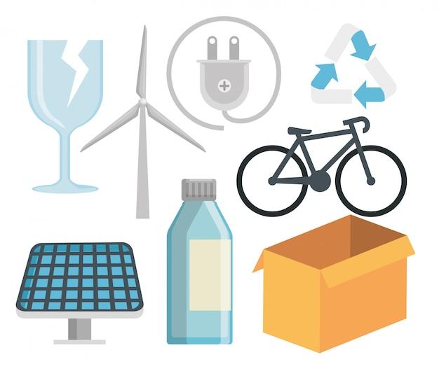 Mettre La Conservation De L'écologie En Protection De La Nature Vecteur Premium