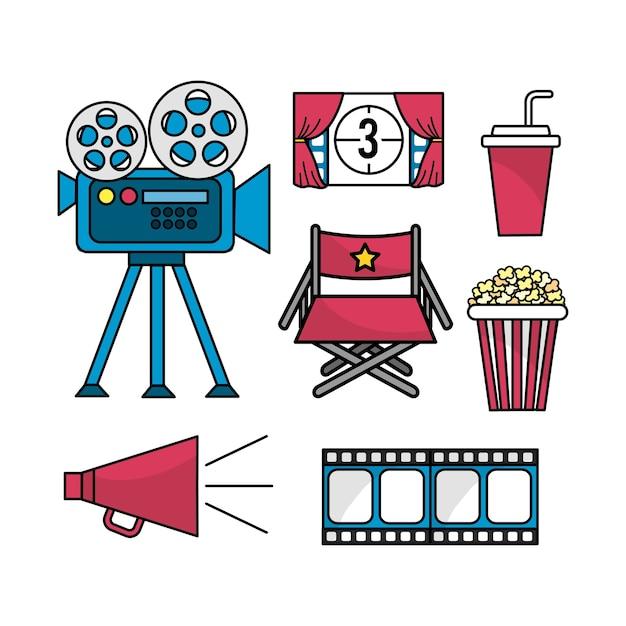 Mettre la scène cinématographique au divertissement Vecteur Premium