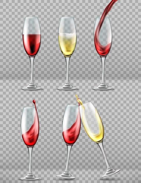 Mettre des verres à vin avec des éclaboussures de vin rouge et blanc, des toasts Vecteur gratuit