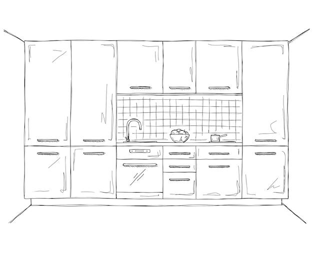 Meubles De Cuisine Dessinés à La Main. Illustration Dans Le Style De Croquis Vecteur Premium
