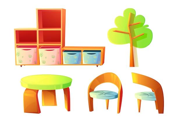 Meubles De Jardin D'enfants Pour Salle De Classe Pour Enfants Vecteur gratuit