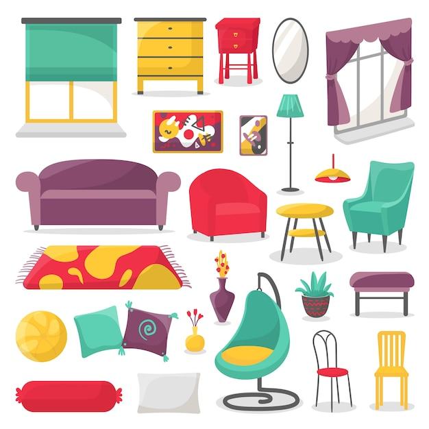 Meubles De Salon Et Illustration De Décoration Intérieure Maison Ensemble Isolé. Vecteur Premium