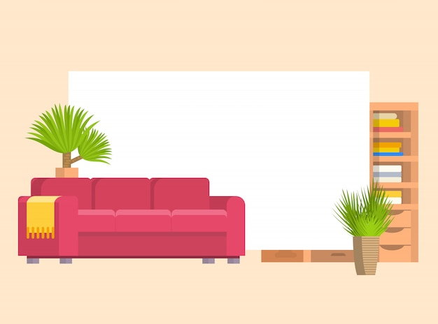 Meubles de vie ou objets de chambre sertie de canapé en cuir et étagère en bois avec cadre et livres vector illustration de dessin animé. meubles élégants avec des plantes d'intérieur. Vecteur Premium