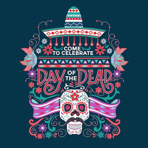 Mexicain dia de muertos signifie jour des morts avec illustration de crâne et sombrero en sucre Vecteur Premium