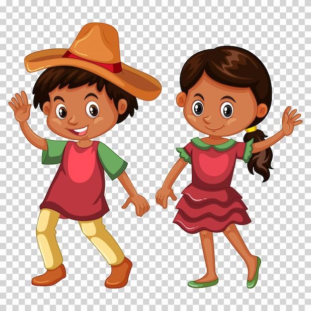 Mexicain garçon et fille en costume Vecteur gratuit
