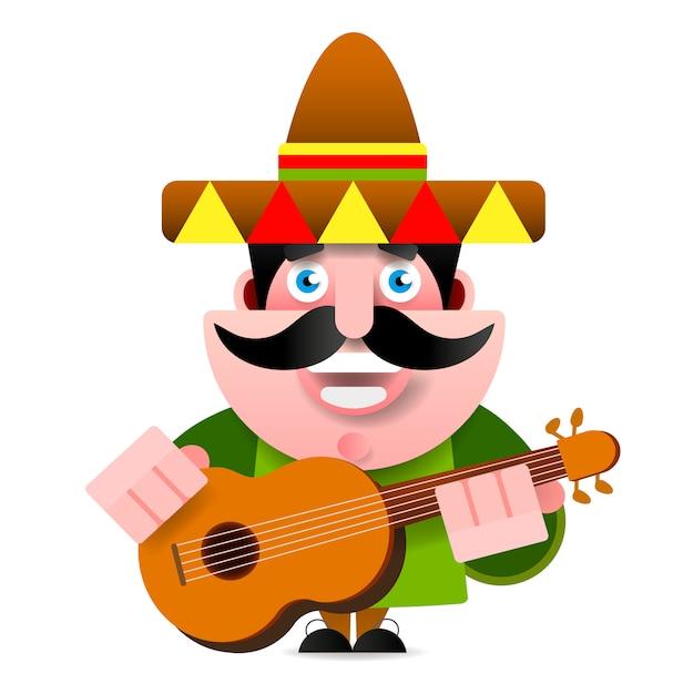 Mexicain à sombrero et illustration vectorielle de guitare Vecteur Premium