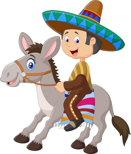 Mexicains conduisant un âne Vecteur Premium
