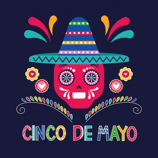Mexique cinco de mayo card Vecteur Premium