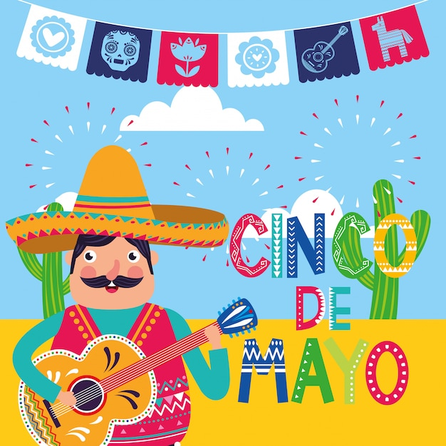 Mexique cinco de mayo card Vecteur Premium