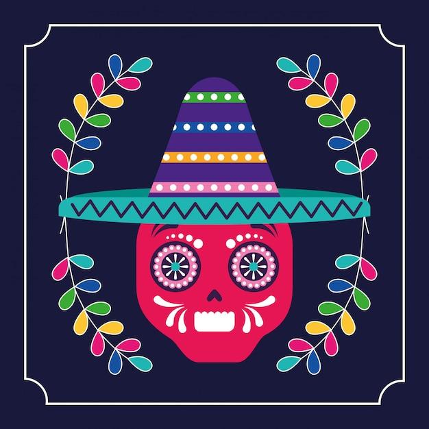 Mexique cinco de mayo crâne Vecteur Premium