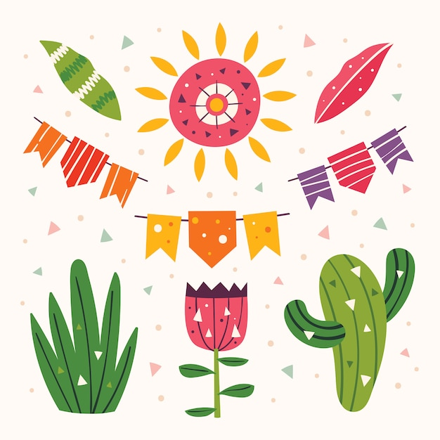 Mexique Clipart Soleil Mignon Drapeaux Cactus Herbe Fleurs Et Feuilles Fete Mexicaine Vacances En Amerique Latine Illustration Plate Coloree Ensemble D Elements Isoles Vecteur Premium