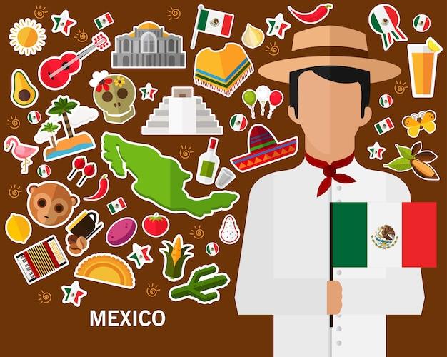 Mexique concept fond. icônes plates Vecteur Premium