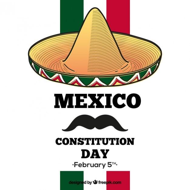Mexique journée de constitution de fond avec un chapeau et une moustache Vecteur gratuit