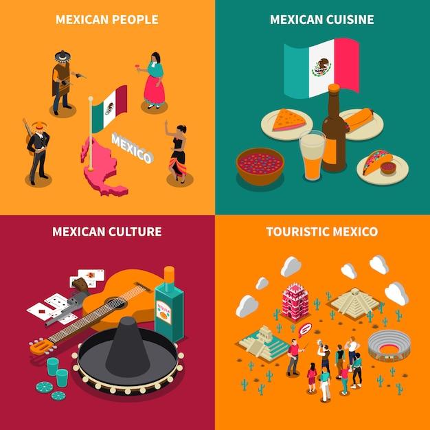 Mexique touristique 4 isometric icons square Vecteur gratuit