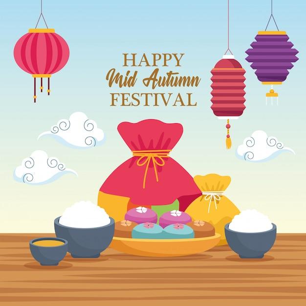 Mi-automne, dessin animé du festival chinois Vecteur Premium