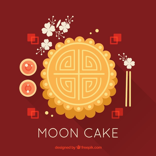 Mi automne fond avec gâteau de lune Vecteur gratuit