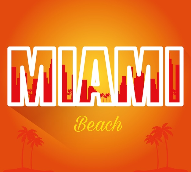 Miami beach cityscape scène vecteur illustration design Vecteur Premium