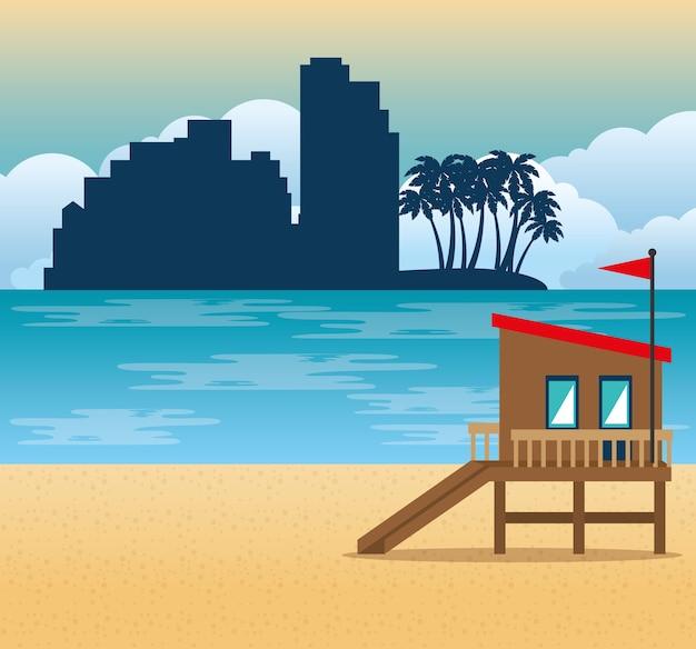 Miami beach cityscape scène vecteur illustration design Vecteur Premium