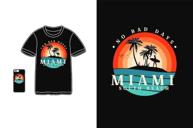 Miami South Beach T-shirt Design Silhouette Style Rétro Vecteur Premium