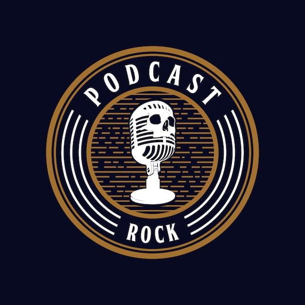 Micro crâne podcast rock Vecteur Premium