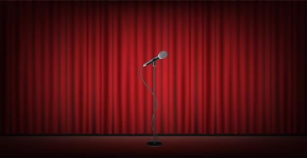 Micro stand sur scène avec fond de rideau rouge Vecteur Premium