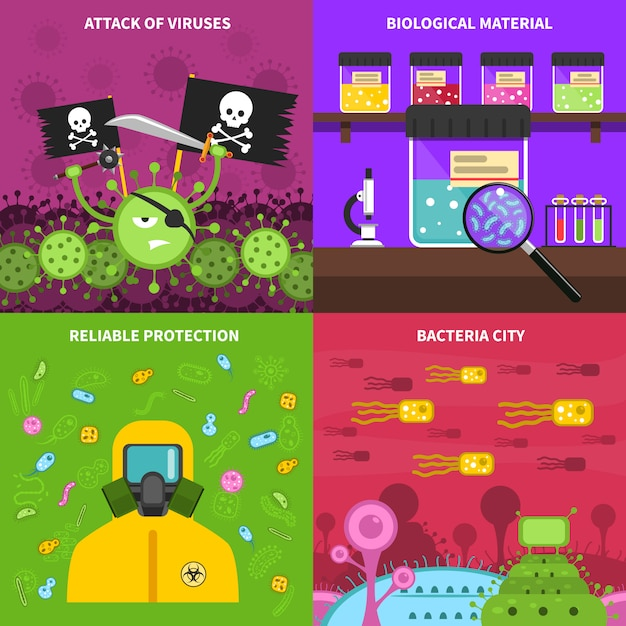 Microbiologie jeu d'images vectorielles de fond Vecteur gratuit