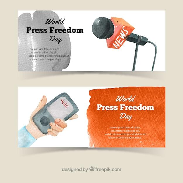 Microphone et bannières mobiles aquarelle Vecteur gratuit